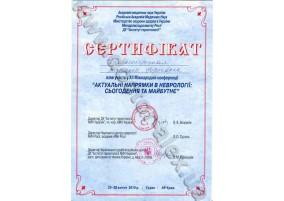 """Сертифікат Участь у ХІІ Міжнародній конференції """"Актуальні напрямки неврології: сьогодення та майбутнє"""""""