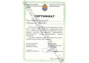 Сертифікат Залік з питань  клініки, діагностики,  профілактики грипу (в т.ч. пандемічного) та гострих распіраторних вірусних інфекцій.