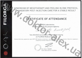 FILORGA Laboratories testify that with the present diploma has attended successfully the complete training on FILORGA Medical Academy